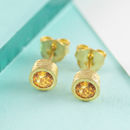 November Round Citrine Birthstone Gold Stud Earrings