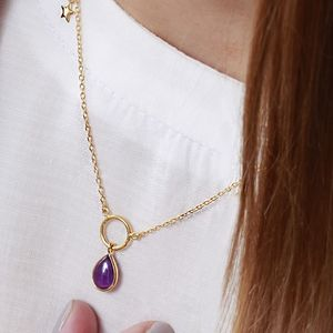 18ct Gold Gemstone Halo Necklace With Star Charm