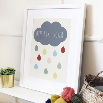 Personalised Cloud And Raindrop Name Print