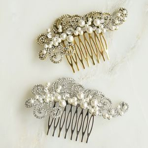 Vintage Inspired Crystal Pearl Hair Comb Silver/Gold - more