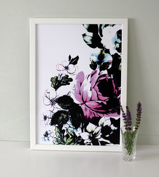 Large Pink Rose With Outline Art Print
