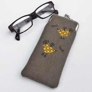 Embroidered Bird Glasses Case
