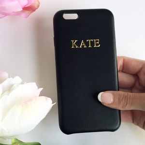 Black Pu Leather Embossed Phone Case