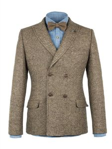 Men's Tweed Double Breasted Jacket - coats & jackets