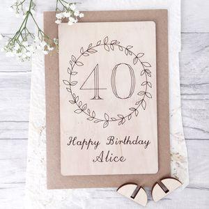 Personalised 40th Birthday Wooden Card - birthday cards