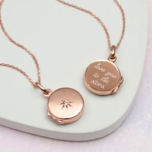 Personalised Rose Gold Star Set Locket - gifts for her