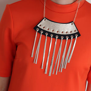 Axle Geometric Metallic Leather Tassel Necklace - necklaces & pendants