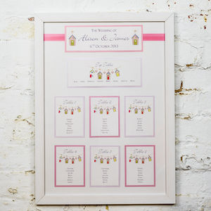 Beach Hut Framed Wedding Table Plan