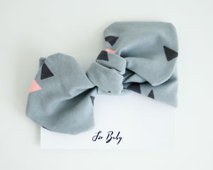 Grey Geometric Baby Headband