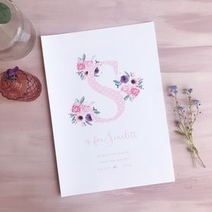 Personalised Floral Initial New Baby Print