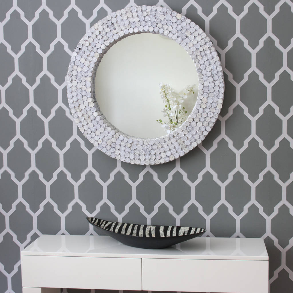 Recycled Paper White Round Mirror