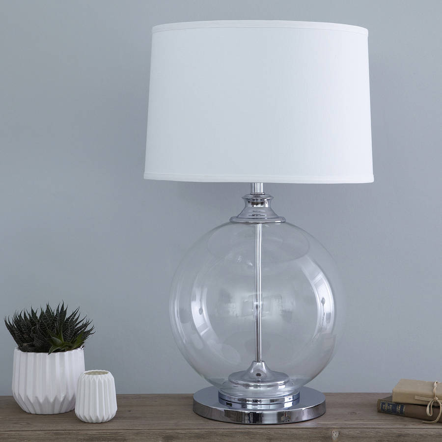 glass ball table lamp with white shade by primrose plum. Black Bedroom Furniture Sets. Home Design Ideas