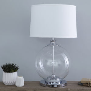 Glass Ball Table Lamp With White Shade - bedroom