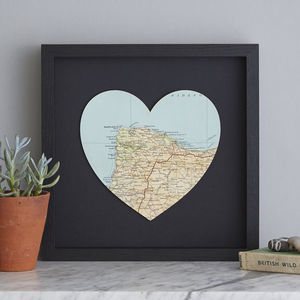 Personalised Map Location Heart Birthday Print Black