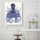 Blue Octopus Print, Nautical Art Print