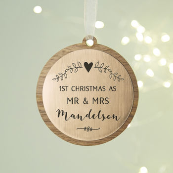 1st Married Christmas Personalised Botanical Bauble
