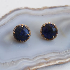 Vermeil Sapphire Corundum And Crystal Border Studs - precious gemstones