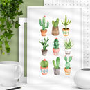 Cactus Watercolour Print Illustrated Set In Green