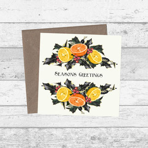 Holly Berry And Fruit Seasons Greetings Christmas Cards - cards