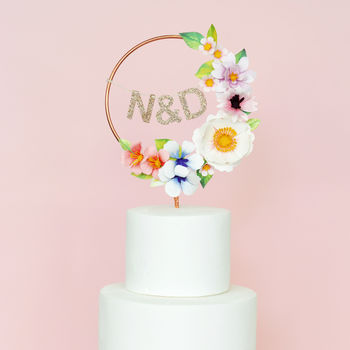 Paper Flower Personalised Copper Cake Topper