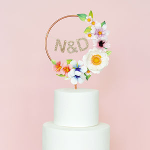 Paper Flower Personalised Copper Cake Topper - cakes & treats
