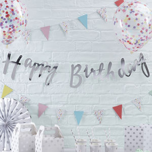 Designer Silver Foiled Happy Birthday Bunting Backdrop - bunting & garlands