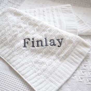 Personalised White Cable Knit Baby Blanket