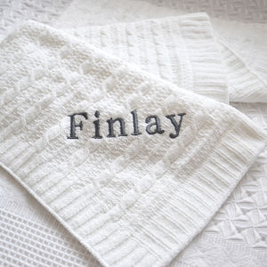 Personalised White Cable Knit Baby Blanket - baby care