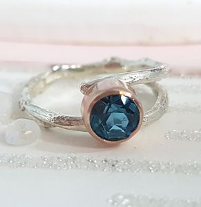 Handmade Blue Topaz Twig Ring November Birthstone - rings