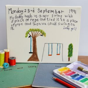 Personalised Sewn Handwriting And Illustration Canvas - textile art