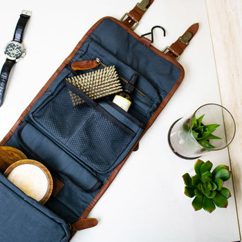 Personalised Leather Hanging Dopp Kit With Buckles