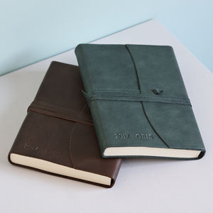 Personalised Leather Journal With Tie - lust list for him