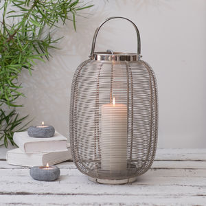 Stainless Steel Hurricane Lantern - new in garden