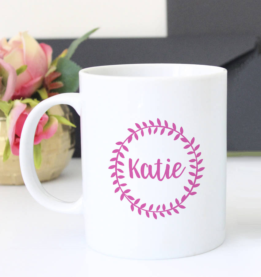 Leafy Garland Personalised Name Mug