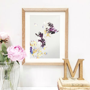 'Golden Midnight Floral' Print