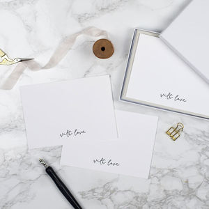 With Love Letterpress Notecards Set Of Six - writing