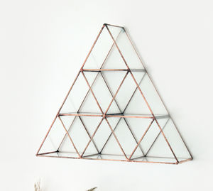 Multiple Triangle Shelf Copper And Glass - instagram-worthy shelves