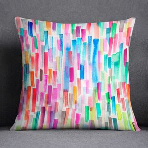 Watercolour Rainbow Brushstrokes Cushion Laura Munoz