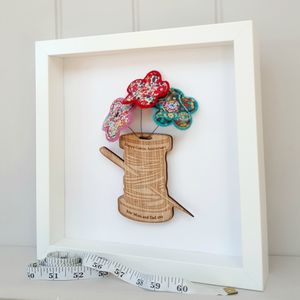 Oak Cotton Reel With Cotton Anniversary Flowers