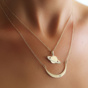 Gold Double Space Necklace - 30th birthday gifts