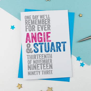 Personalised Wedding Or Anniversary Card
