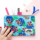 Oilcloth Makeup Bag With Floral Abstract Pattern