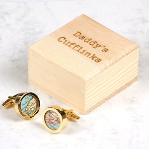 Personalised Gold Map Cufflinks And Cufflink Box