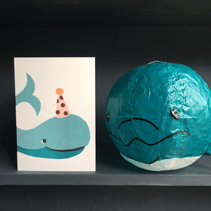 Whale Paper Balloon Greeting Card