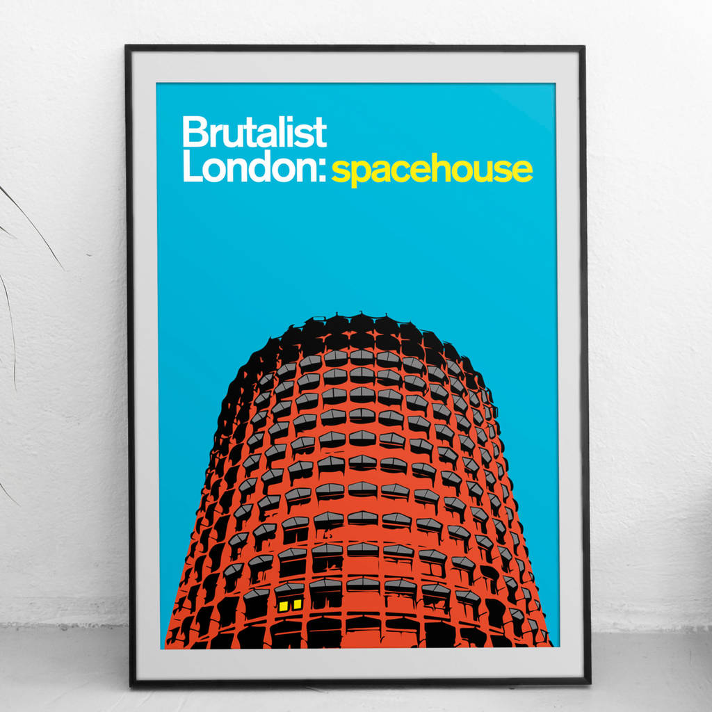 Brutalist London Spacehouse Illustrated Poster