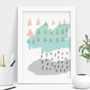 Peach And Turquoise Abstract Art Print - summer sale