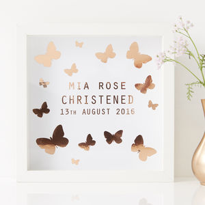 Personalised Butterfly Framed Christening Print - baby's room