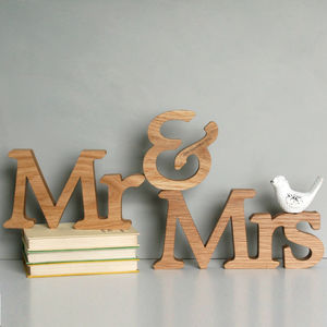 Personalised Mr And Mrs Letters - 5th anniversary: wood