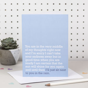 'I'll Just Sit Next To You In The Rain' Sympathy Card - sympathy & sorry cards