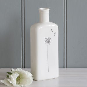 Dandelion Clocks Porcelain Bottle Vase